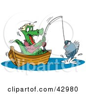 Clipart Illustration Of A Crocodile Fishing In A Boat Reeling In His Catch by Dennis Holmes Designs