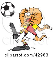 Clipart Illustration Of A Frill Lizard Kicking A Soccer Ball by Dennis Holmes Designs