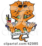 Clipart Illustration Of A Relaxed Orange Frill Lizard Sun Bathing On A Lounge Chair by Dennis Holmes Designs