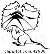 Clipart Illustration Of A Black And White Cute Frill Lizard by Dennis Holmes Designs
