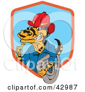 Clipart Illustration Of A Miner Or Fireman Goanna Lizard by Dennis Holmes Designs