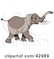 Clipart Illustration Of A Brown Walking Elephant by Dennis Holmes Designs