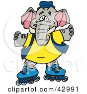 Clipart Illustration Of A Happy Elephant Character Roller Blading by Dennis Holmes Designs