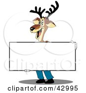 Clipart Illustration Of A Friendly Reindeer Holding A Blank Sign by Dennis Holmes Designs