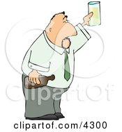 Partying Businessman Holding A Glass And Bottle Of Beer Clipart