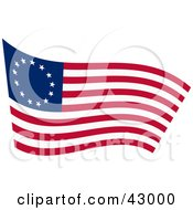 Clipart Illustration Of A Waving Betsy Ross Flag
