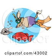 Clipart Illustration Of A Snorkeling Mouse Watching A Fish And Clam by Dennis Holmes Designs