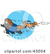 Clipart Illustration Of A Crawdad Holding Onto The Tail Of A Swimming Platypus
