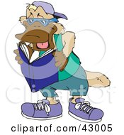 Clipart Illustration Of A Platypus Reading A Book by Dennis Holmes Designs