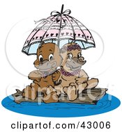 Clipart Illustration Of A Sweet Platypus Couple Cuddling Under An Umbrella