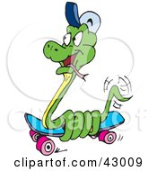 Clipart Illustration Of A Green Snake Coiled Around A Skateboard