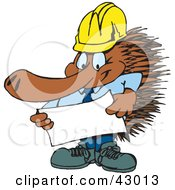 Clipart Illustration Of A Contractor Echidna Looking Over Plans