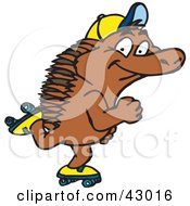 Clipart Illustration Of A Happy Roller Skating Echidna