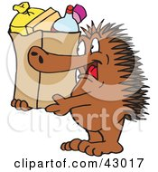 Clipart Illustration Of A Spiny Anteater Echidna Carrying A Shopping Bag