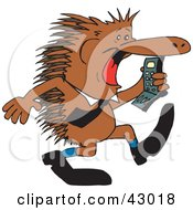 Clipart Illustration Of A Business Echidna Screaming At A Cell Phone