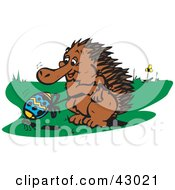Clipart Illustration Of An Echidna Holding The Rope To An Easter Egg That An Ant Is Trying To Carry