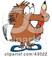 Clipart Illustration Of A Smart Echidna Carrying A Pencil And Paper