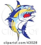 Clipart Illustration Of A Tough Yellowfin Tuna Fish Thunnus Albacares by Dennis Holmes Designs #COLLC43028-0087