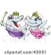 Clipart Illustration Of Queen And Princess Dolphins