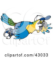 Clipart Illustration Of A Blue And Yellow Macaw Flying In Shorts And A Hat by Dennis Holmes Designs