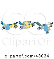 Clipart Illustration Of Three Scenes Of A Flying Parrot by Dennis Holmes Designs