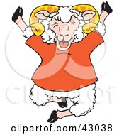 Clipart Illustration Of A Happy Jumping Sheep In A Red Shirt