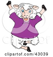 Clipart Illustration Of A Happy Jumping Sheep In A Purple Shirt