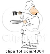 Male Chef Holding A Skillet And Spatula Clipart by djart