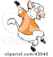 Clipart Illustration Of A Happy Jumping Sheep In An Orange Shirt