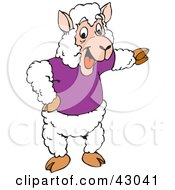 Clipart Illustration Of A Sheep In A Shirt Pointing Right