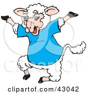 Clipart Illustration Of A Happy Jumping Sheep In A Blue Shirt