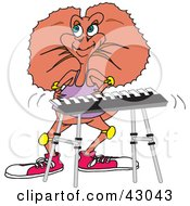 Clipart Illustration Of A Frill Lizard Playing A Keyboard by Dennis Holmes Designs