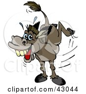 Clipart Illustration Of A Stubborn Kicking Donkey by Dennis Holmes Designs