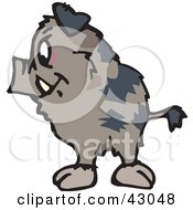 Clipart Illustration Of A Wild Brown Pig