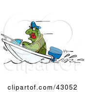 Clipart Illustration Of A Sea Turtle Driving A Boat