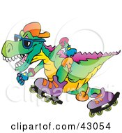 Clipart Illustration Of A Colorful Roller Blading T Rex