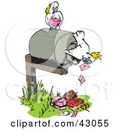 Clipart Illustration Of Cockatoos Delivering Mail And Gifts by Dennis Holmes Designs