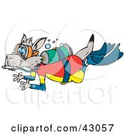 Clipart Illustration Of A Kangaroo Scuba Diving With Oxygen
