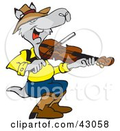 Clipart Illustration Of A Kangaroo Playing A Violin