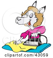 Clipart Illustration Of A Female Kangaroo Ironing Clothes
