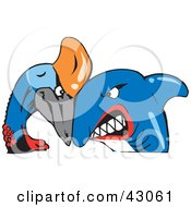 Clipart Illustration Of A Shark And Cassowary Bird Butting Heads