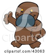 Clipart Illustration Of A Cute Brown Platypus Waving