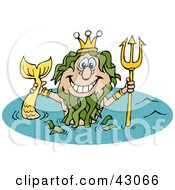 Clipart Illustration Of A Mermaid King Neptune Holding Up His Trident In Water