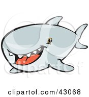 Clipart Illustration Of A Cute Toothy Shark by Dennis Holmes Designs
