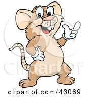 Clipart Illustration Of A Friendly Brown Mouse Gesturing With His Hand