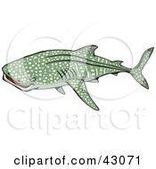 Clipart Illustration Of A Spotted Green Whale Shark by Dennis Holmes Designs