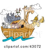 Clipart Illustration Of Birds Rhinos Elk Sheep Monkeys And Giraffes On Noahs Ark