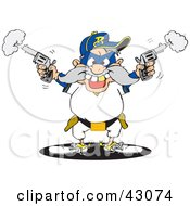 Clipart Illustration Of A Male Bandit Shooting Pistils