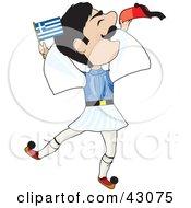 Energetic Greek Evzone Dancing And Waving A Greek Flag