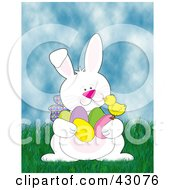 Clipart Illustration Of A Friendly Easter Bunny Talking With A Chick And Gathering Eggs In Grass by Maria Bell